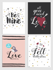 Trendy Valentines Day greeting card Design Set. Holiday Themed Collection. Vector Illustration
