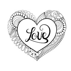 Floral doodle heart frame in zentangle style with calligraphy Lo