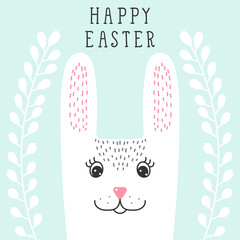 Funny bunny, rabbit head in floral wreath. Happy Easter greeting