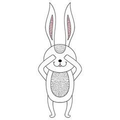 Funny hand drawn rabbit. Children animal illustration for book,