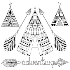 Hand drawn American native wigwam set with ethnic ornamental ele