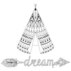 Hand drawn American native wigwam with ethnic ornamental element