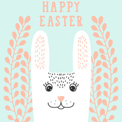 Happy bunny face, rabbit head in floral wreath. Happy Easter gre