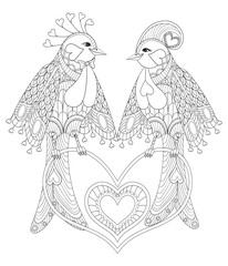 Lovely couple of exotic bird sitting on heart for adult anti str