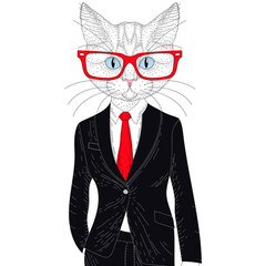 Vector cute cat boy in elegant classic suit with glasses. Hand d