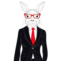 Vector cute rabbit boy in elegant black suit with glasses. Hand