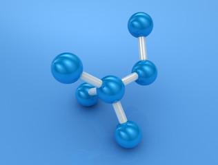 3d render of blue molecule