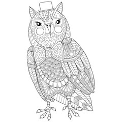 Zentangle Owl painting for adult anti stress coloring page, book