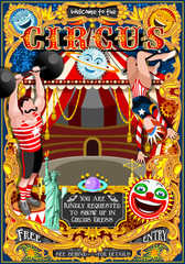 Circus carnival tent marquee amusement family theme park poster acrobat background artist show birthday invite set. Creative design vector illustration collection