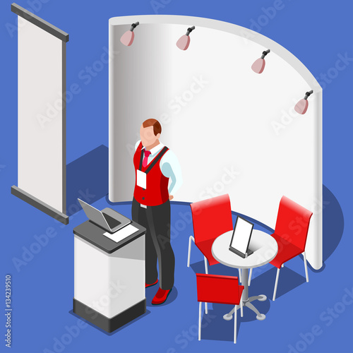 Exhibition Booth Vector Free Download : Quot exhibition booth stand desk man roll up display panel d