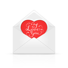 Envelope with red heart and Valentines lettering I love You