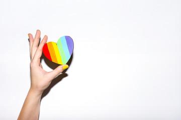 Lgbt flag rainbow heart shape on white