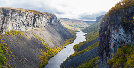 Foto auf Leinwand Skandinavien The Alta canyon: view of River Alta and gorge. Finnmark, Norway