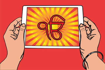 Hands holding a tablet on which the Ek Onkar is the symbol of Sikhism. Red and gold gradient rays, red background.