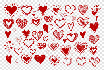 Collection of doodle sketch hearts hand drawn with red ink