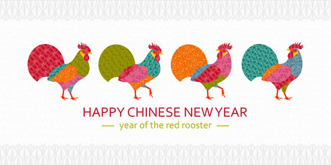 Creative stylized roosters in patchwork style. 2017 New Year symbol red cock. Vector illustration