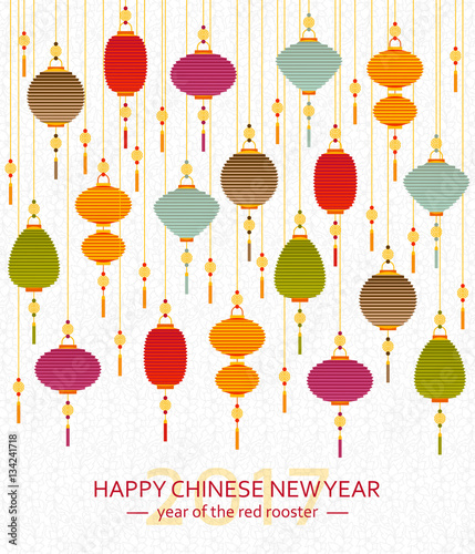 """Colorful Chinese paper street lanterns background in flat ..."