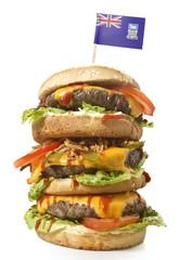 Tasty XXL Hamburger with the flag of Falkland Islands.(series)