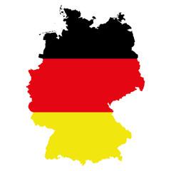 Карта Германии. Силуэт в виде флага Германии. Оригинальная абстрактная векторная иллюстрация.