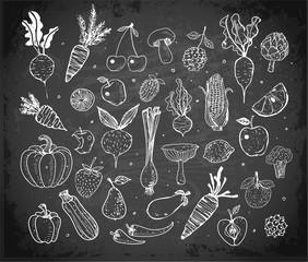 Doodle sketch fresh fruits and vegetables on blackboard background