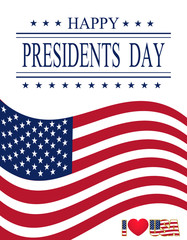 Presidents Day. Greeting card with symbols. Greeting inscription. illustrations