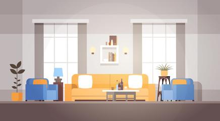 Living Room Interior Home Modern Apartment Design Flat Vector Illustration
