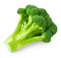 Fresh broccoli with drops of water