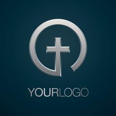 Christian church creative vector logo. Religious icon isolated on background.
