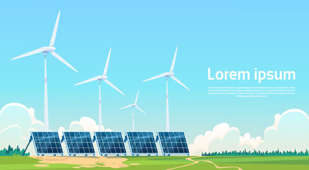 Wind Turbine Solar Energy Panel Renewable Station Flat Vector Illustration