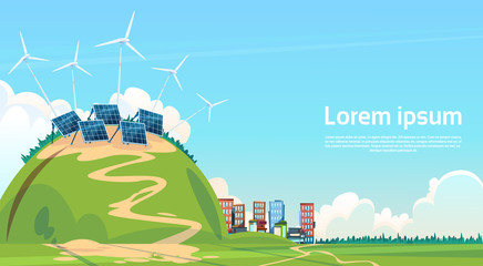 Wind Turbine Solar Energy Panel Renewable Station Flat Vector Illustration