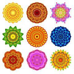 vector set mandala in different colors isolated on white background