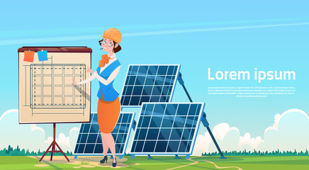Business Woman Solar Energy Panel Renewable Station Presentation Flat Vector Illustration