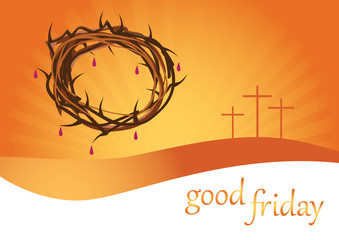 Crown of thorns on orange background with three crosses