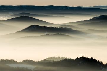 Zelfklevend Fotobehang Bergen Misty mountains landscape in the morning, Poland