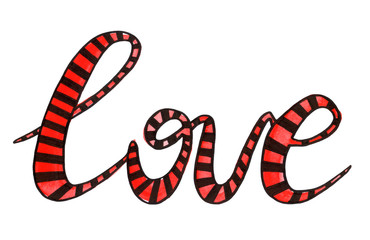 Watercolor hand drawn red striped word love. Lettering. Valentin