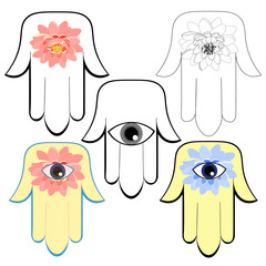 god hamsa hand symbol Eye Islam. illustration
