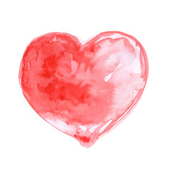 Watercolor hand drawn red heart isolated on white background.Val