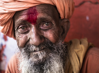 Portrait of sadhu, Pushkar, Rajasthan, India
