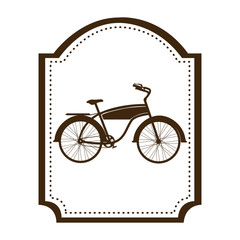 silhouette brown of classic bicycle in frame vector illustration
