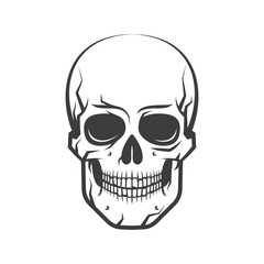 Cute, simple and realistic human skull - a tattoo on a white background. Vector illustration.