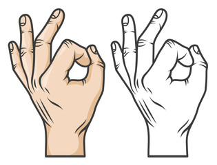 Hand gesture OK, or zero. Comics cartoon style. Black-and-white and color versions.