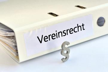 Vereinsrecht, Vereinsgesetz, Gesellschaftsrecht, Paragraf, Ordner, symbolisch, Verein, Satzung, Gemeinnützigkeit, Rechtsfähigkeit, Vereinsvorstand, Vereinsgründung, BGB,
