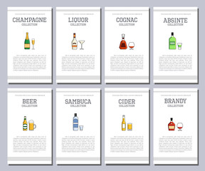 Vector alcohol list with icons for bar menu. Vodka wine whiskey tequila vermouth gin rum port. Brochure cafe restaurant illustration. Template background.