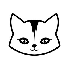 face cat animal domestic furry outline vector illustration eps 10