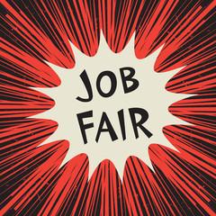 Comic explosion business concept with text Job Fair
