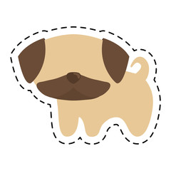 pug puppy cute animal cut line vector illustration eps 10
