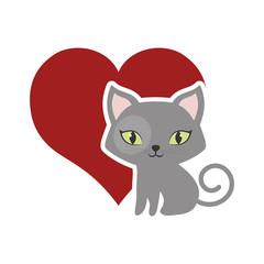 cat fluffy lovely animal red heart vector illustration eps 10