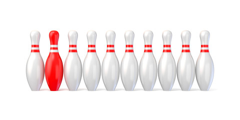 White bowling pins lined and red one. 3D