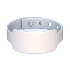 White rubber bracelet, closed. 3D