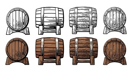 Wooden barrel front and side view engraving vector illustration